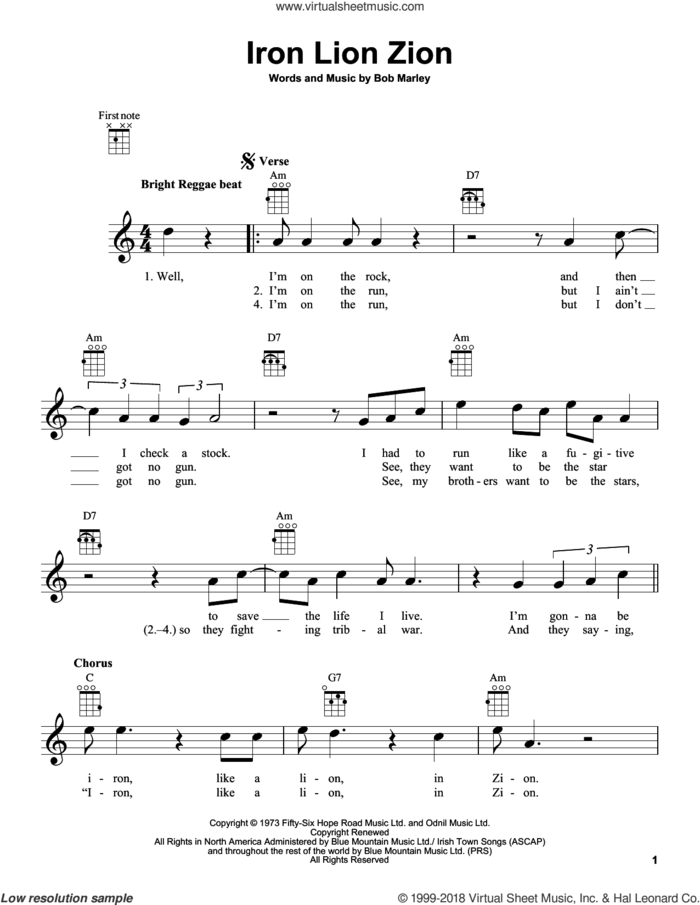 Iron Lion Zion sheet music for ukulele by Bob Marley, intermediate skill level