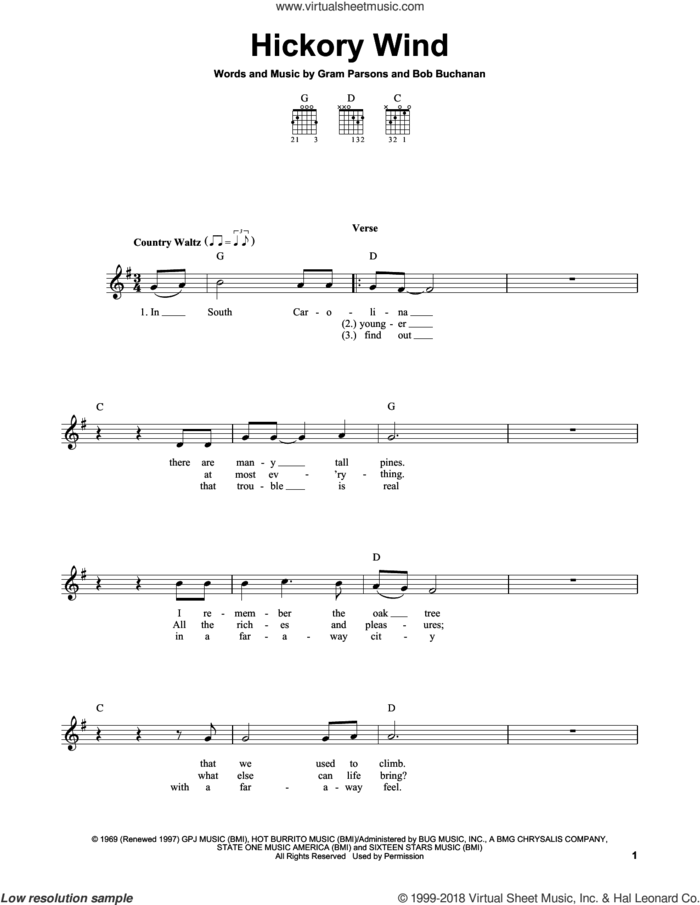 Hickory Wind sheet music for guitar solo (chords) by Gram Parsons and Bob Buchanan, easy guitar (chords)