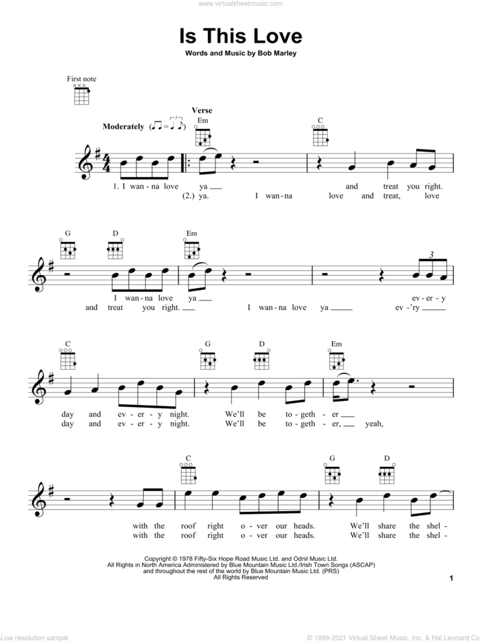 Is This Love sheet music for ukulele by Bob Marley, intermediate skill level