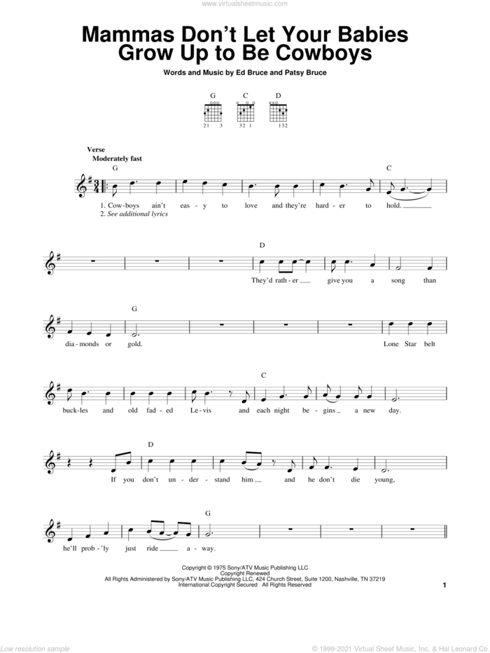 Mammas Don't Let Your Babies Grow Up To Be Cowboys sheet music for guitar solo (chords) by Ed Bruce, Gibson/Miller Band, Willie Nelson and Patsy Bruce, easy guitar (chords)