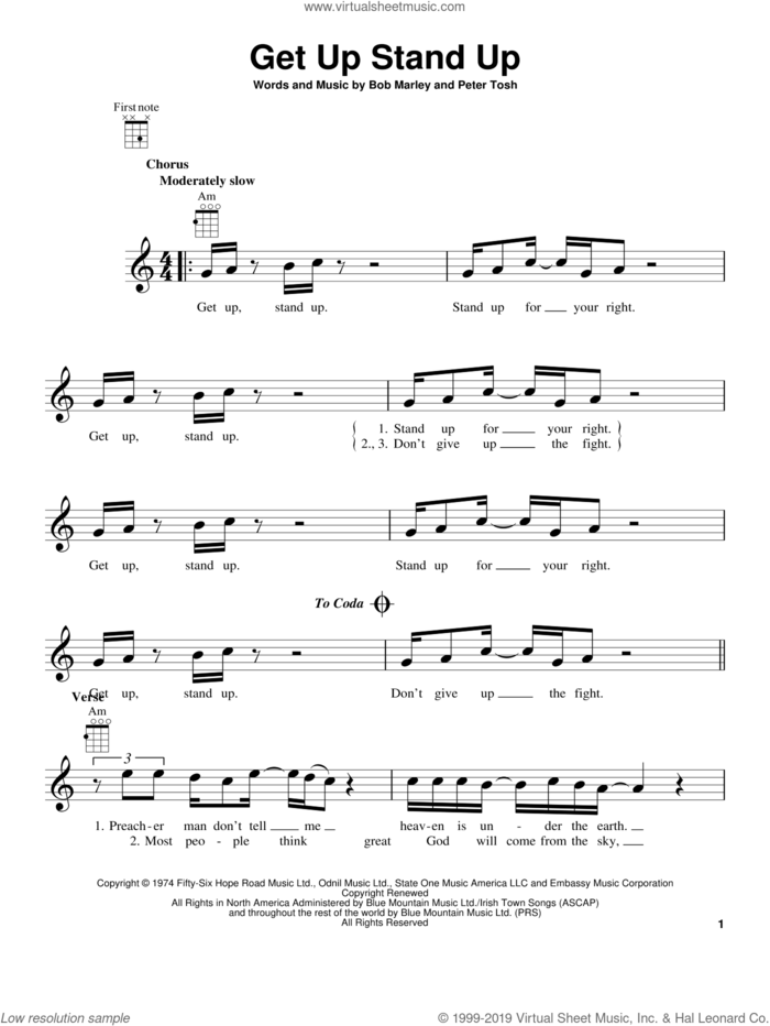 Get Up Stand Up sheet music for ukulele by Bob Marley and Peter Tosh, intermediate skill level