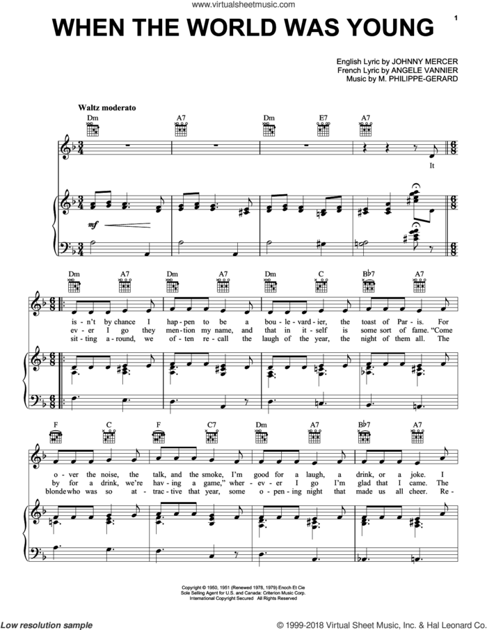 When The World Was Young sheet music for voice, piano or guitar by Frank Sinatra, Angele Vannier, Johnny Mercer and M. Philippe-Gerard, intermediate skill level