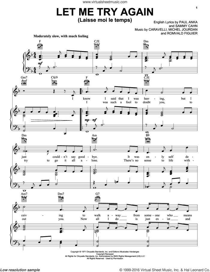 Let Me Try Again (Laisse Moi Le Temps) sheet music for voice, piano or guitar by Frank Sinatra, Caravelli, Michel Jourdan, Paul Anka, Romvald Figuier and Sammy Cahn, intermediate skill level