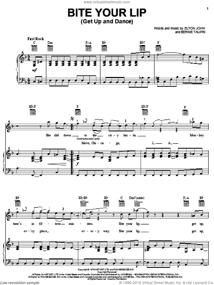 Bite Your Lip (Get Up And Dance) sheet music for voice, piano or guitar by Elton John and Bernie Taupin, intermediate skill level
