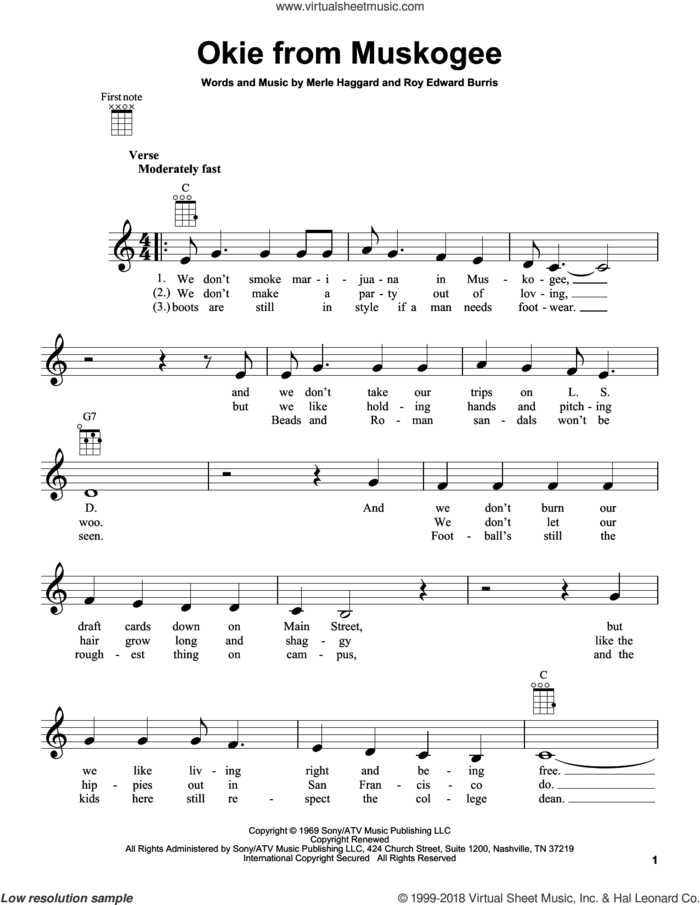 Okie From Muskogee sheet music for ukulele by Merle Haggard and Roy Edward Burris, intermediate skill level