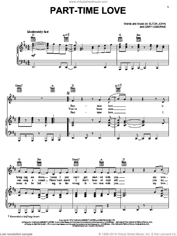 Part-Time Love sheet music for voice, piano or guitar by Elton John and Gary Osborne, intermediate skill level