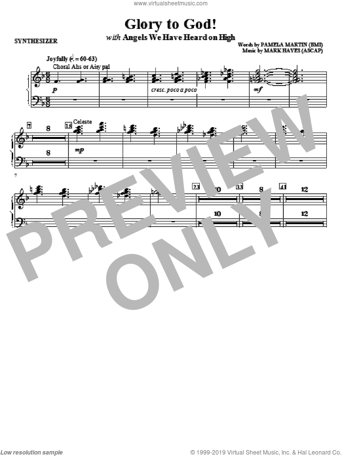 Glory to God! sheet music for orchestra/band (synthesizer) by Mark Hayes and Pamela Martin, intermediate skill level