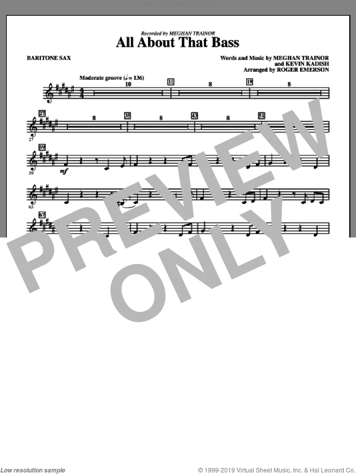All About That Bass (arr. Roger Emerson) (complete set of parts) sheet music for orchestra/band by Roger Emerson, Kevin Kadish, Meghan Trainer and Meghan Trainor, intermediate skill level