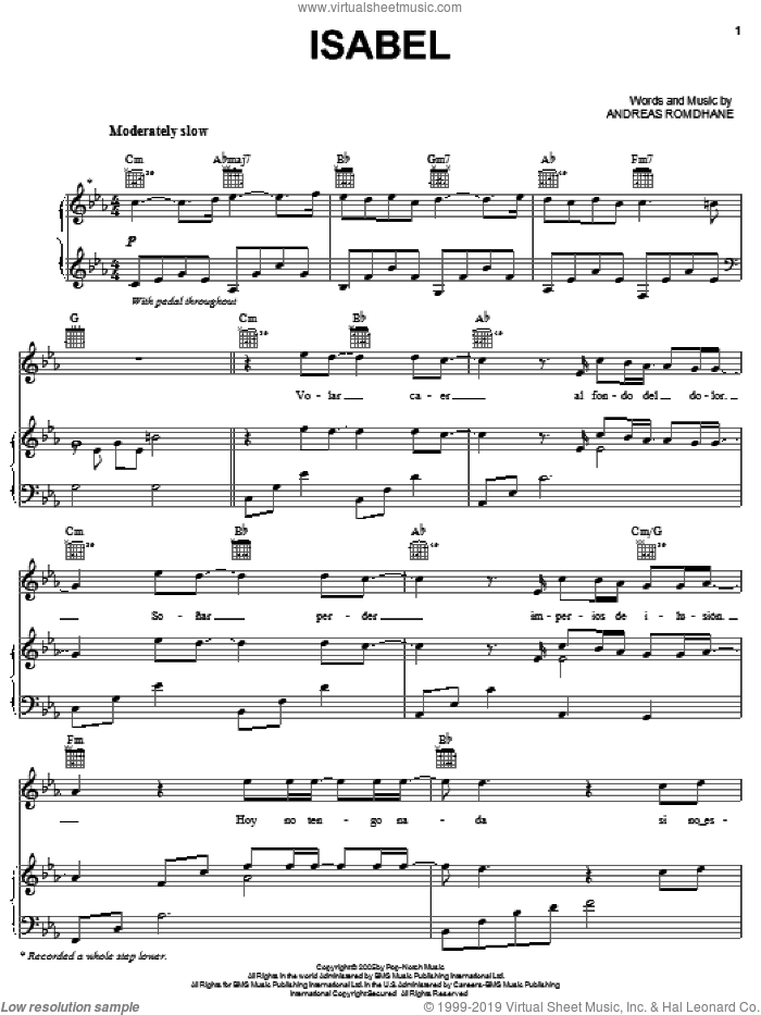 Isabel sheet music for voice, piano or guitar by Il Divo and Andreas Romdhane, intermediate skill level