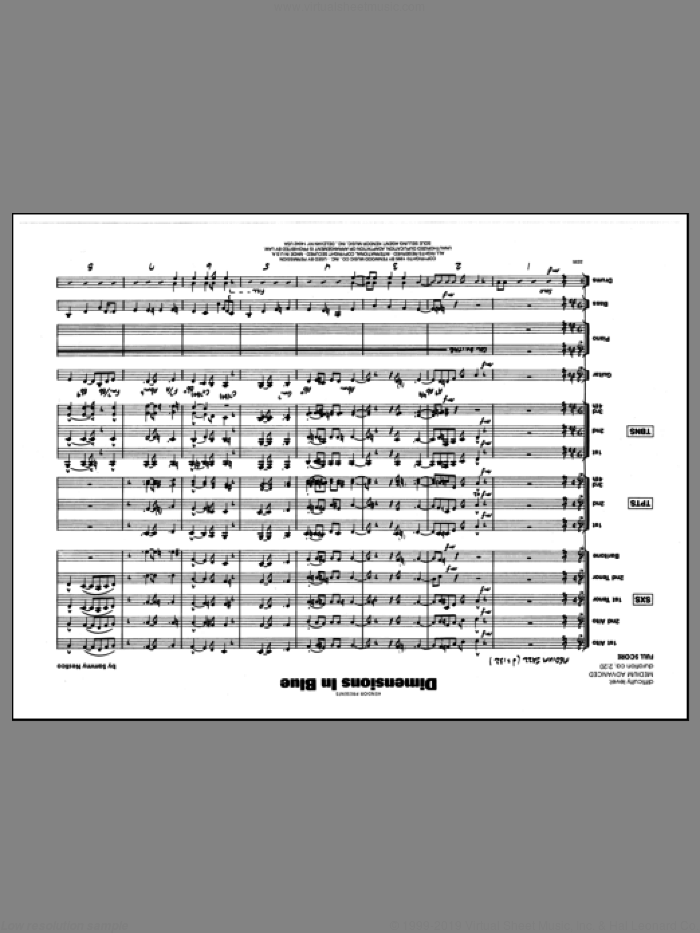 Dimensions In Blue (COMPLETE) sheet music for jazz band by Sammy Nestico, intermediate skill level