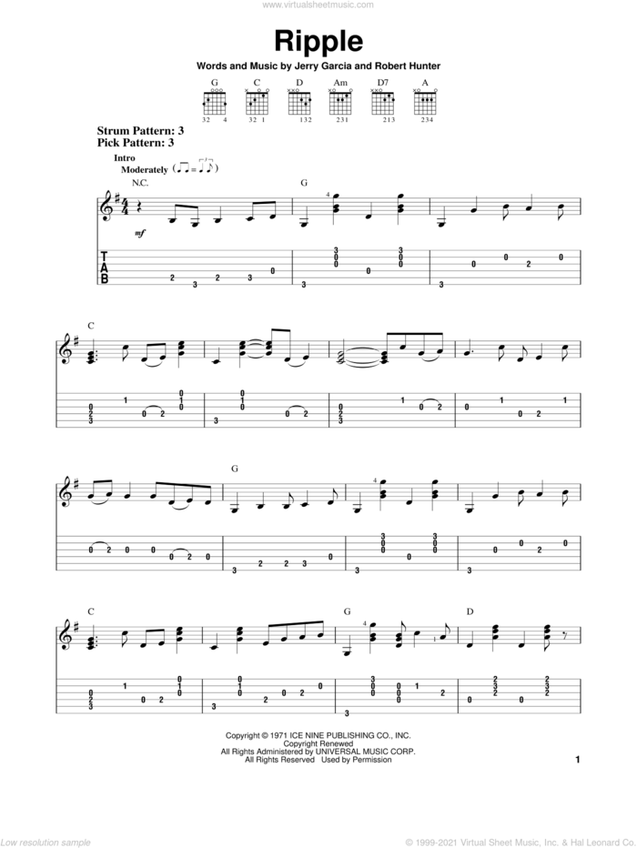 Ripple sheet music for guitar solo (easy tablature) by Grateful Dead, Jerry Garcia and Robert Hunter, easy guitar (easy tablature)