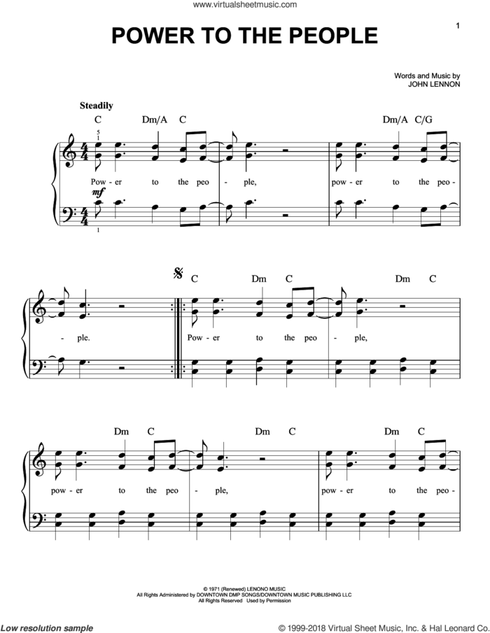 Power To The People sheet music for piano solo by John Lennon, John Lennon and Yoko Ono and with the Plastic Ono Band, easy skill level