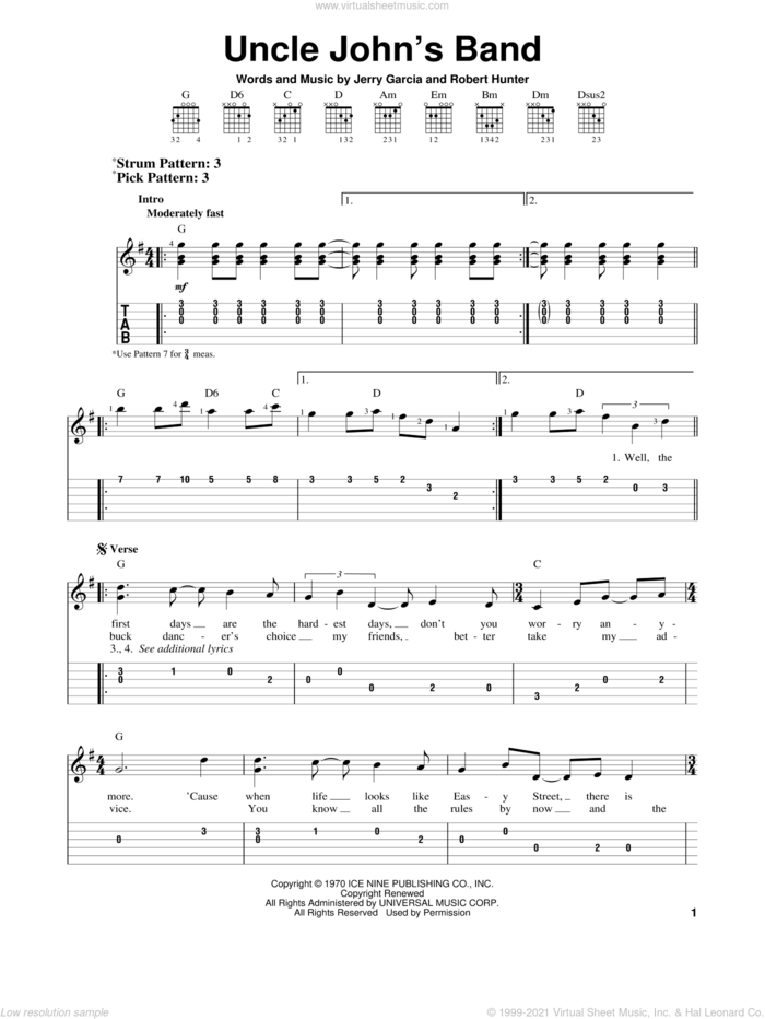 Uncle John's Band sheet music for guitar solo (easy tablature) by Grateful Dead, Jerry Garcia and Robert Hunter, easy guitar (easy tablature)