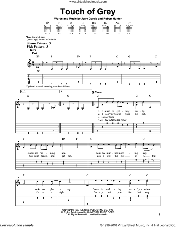 Touch Of Grey sheet music for guitar solo (easy tablature) by Grateful Dead, Jerry Garcia and Robert Hunter, easy guitar (easy tablature)