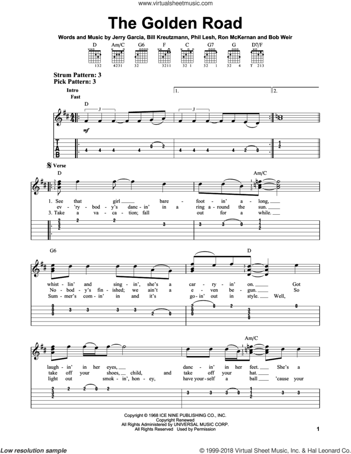 The Golden Road sheet music for guitar solo (easy tablature) by Grateful Dead, Bill Kreutzmann, Bob Weir, Jerry Garcia, Phil Lesh and Ron McKernan, easy guitar (easy tablature)