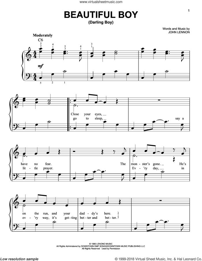 Beautiful Boy (Darling Boy) sheet music for piano solo by John Lennon, easy skill level