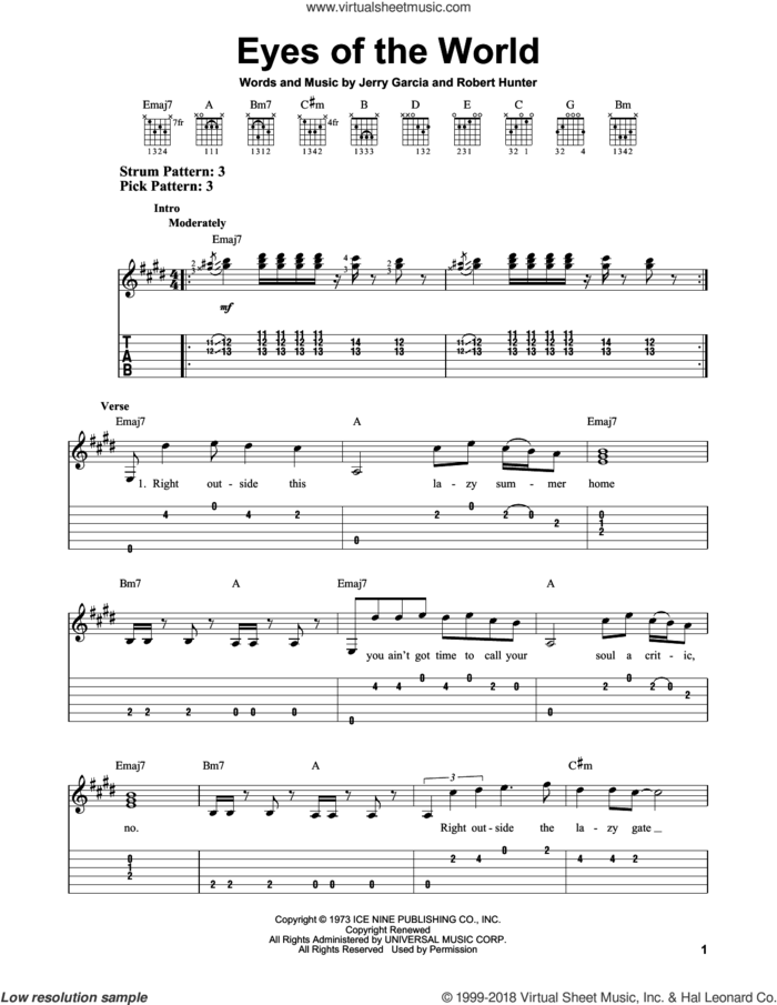 Eyes Of The World sheet music for guitar solo (easy tablature) by Grateful Dead, Jerry Garcia and Robert Hunter, easy guitar (easy tablature)