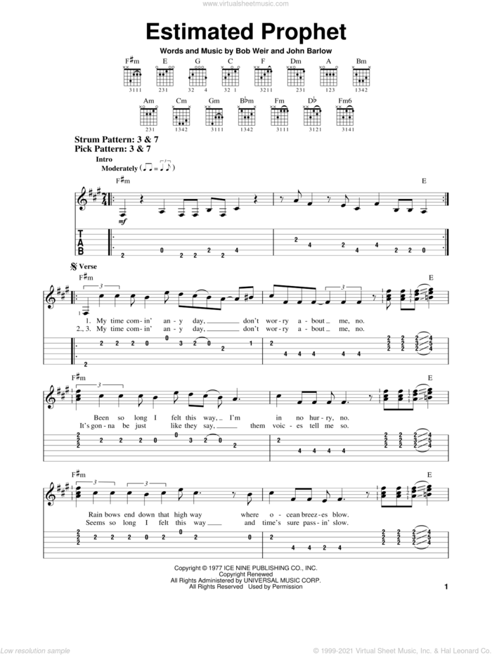 Estimated Prophet sheet music for guitar solo (easy tablature) by Grateful Dead, Bob Weir and John Barlow, easy guitar (easy tablature)