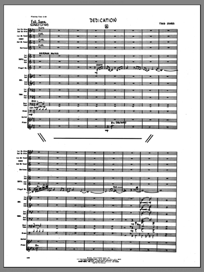 Dedication (COMPLETE) sheet music for jazz band by Thad Jones, intermediate skill level