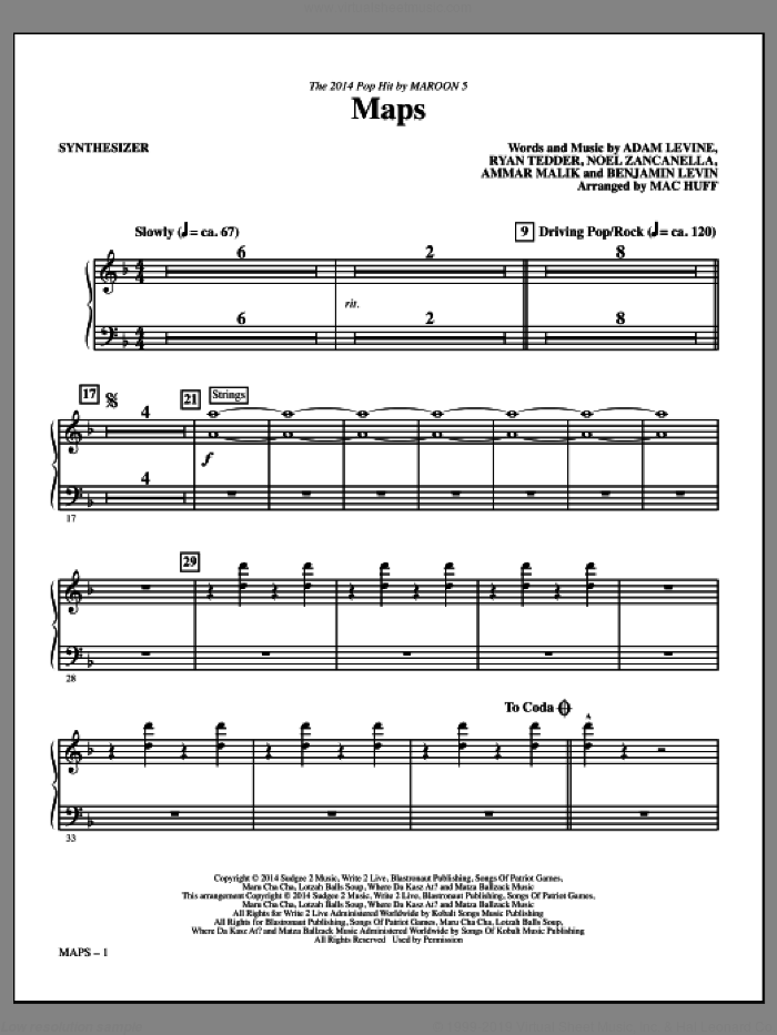 Maps (arr. Mac Huff) (complete set of parts) sheet music for orchestra/band by Mac Huff, Adam Levine, Ammar Malik, Benjamin Levin, Maroon 5, Noel Zancanella and Ryan Tedder, intermediate skill level