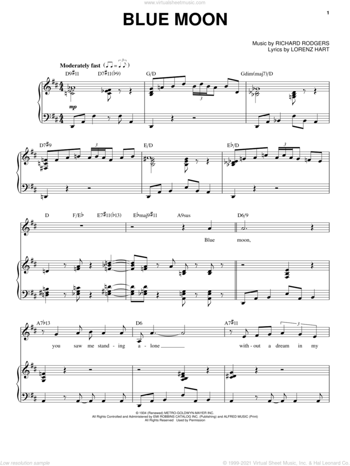 Blue Moon sheet music for voice and piano by Frank Sinatra, Elvis Presley, The Marcels, Lorenz Hart and Richard Rodgers, intermediate skill level