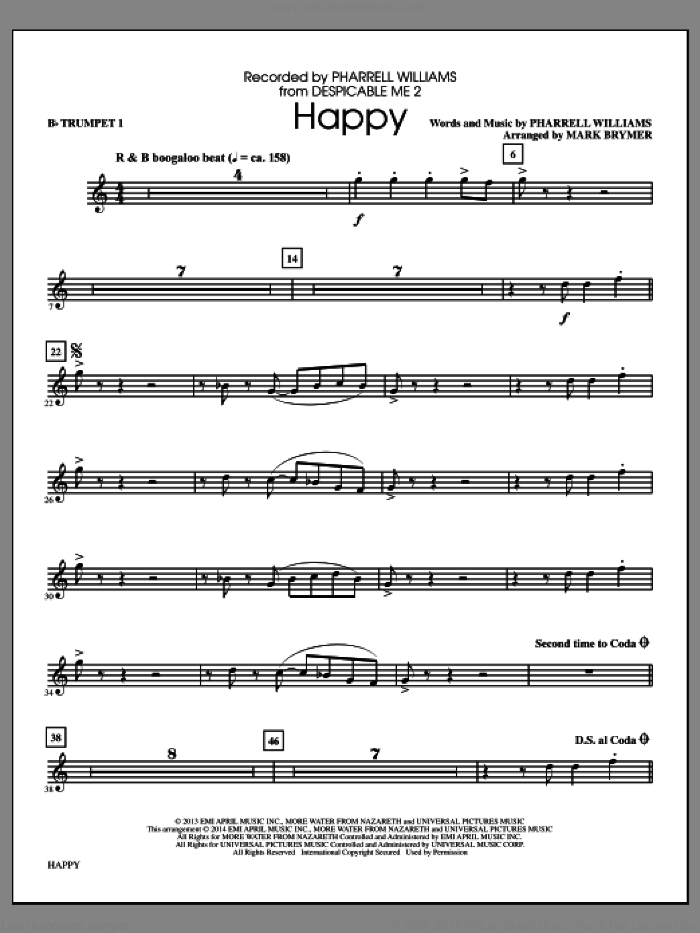 Happy (arr. Mark Brymer) (complete set of parts) sheet music for orchestra/band by Mark Brymer, Pharrell and Pharrell Williams, intermediate skill level