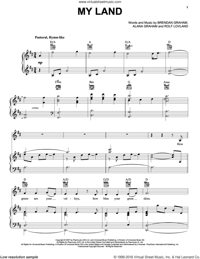 My Land sheet music for voice, piano or guitar by Celtic Thunder, Alana Graham, Brendan Graham and Rolf Lovland, intermediate skill level