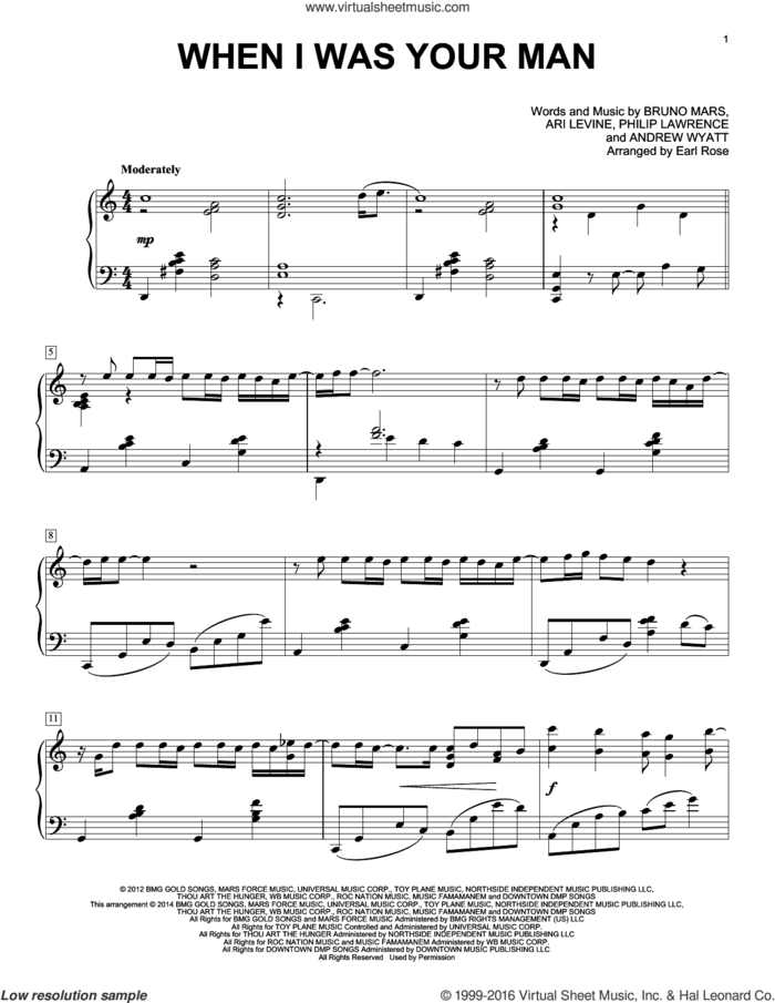 When I Was Your Man sheet music for piano solo by Bruno Mars, Earl Rose, Andrew Wyatt, Ari Levine and Philip Lawrence, intermediate skill level