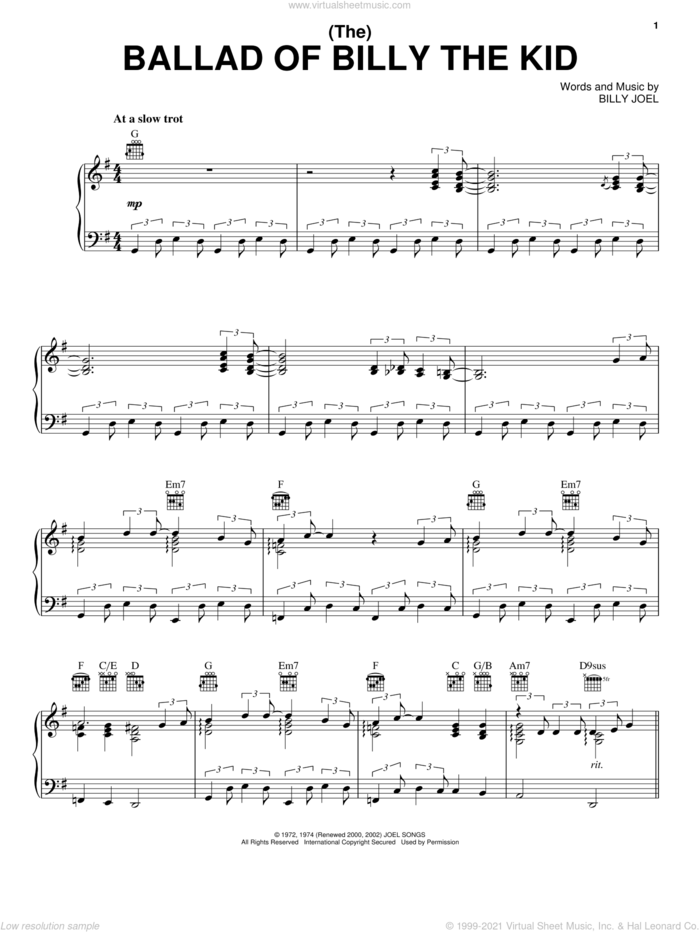 (The) Ballad Of Billy The Kid sheet music for voice, piano or guitar by Billy Joel, intermediate skill level
