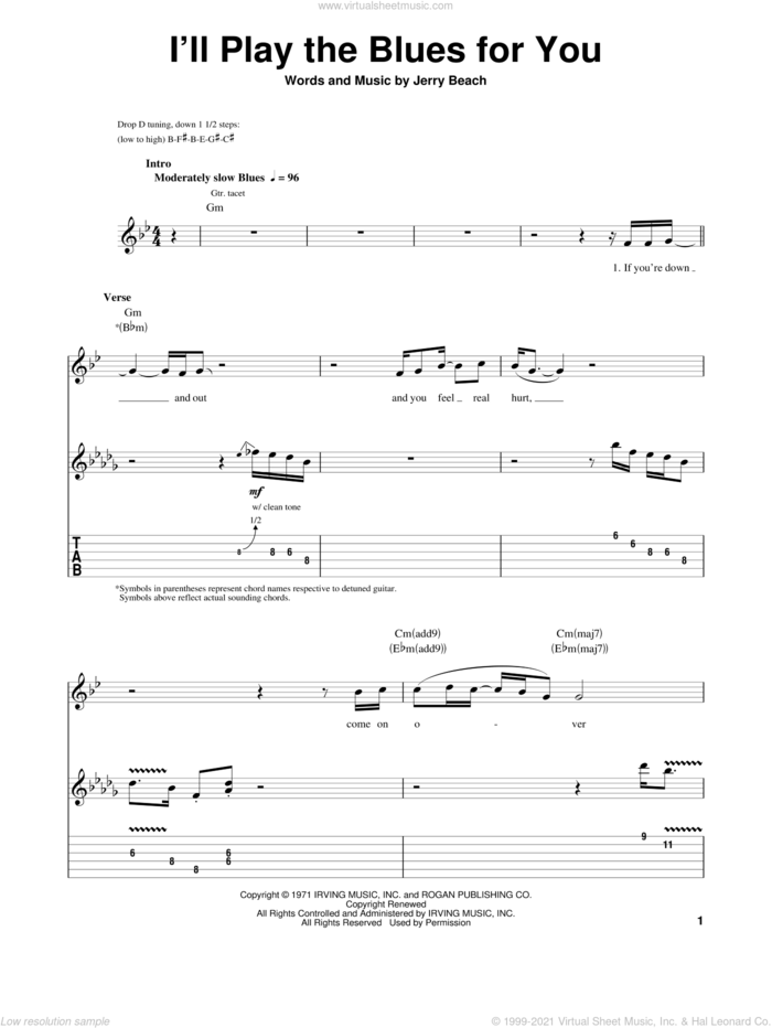 I'll Play The Blues For You sheet music for guitar (tablature, play-along) by Albert King and Jerry Beach, intermediate skill level