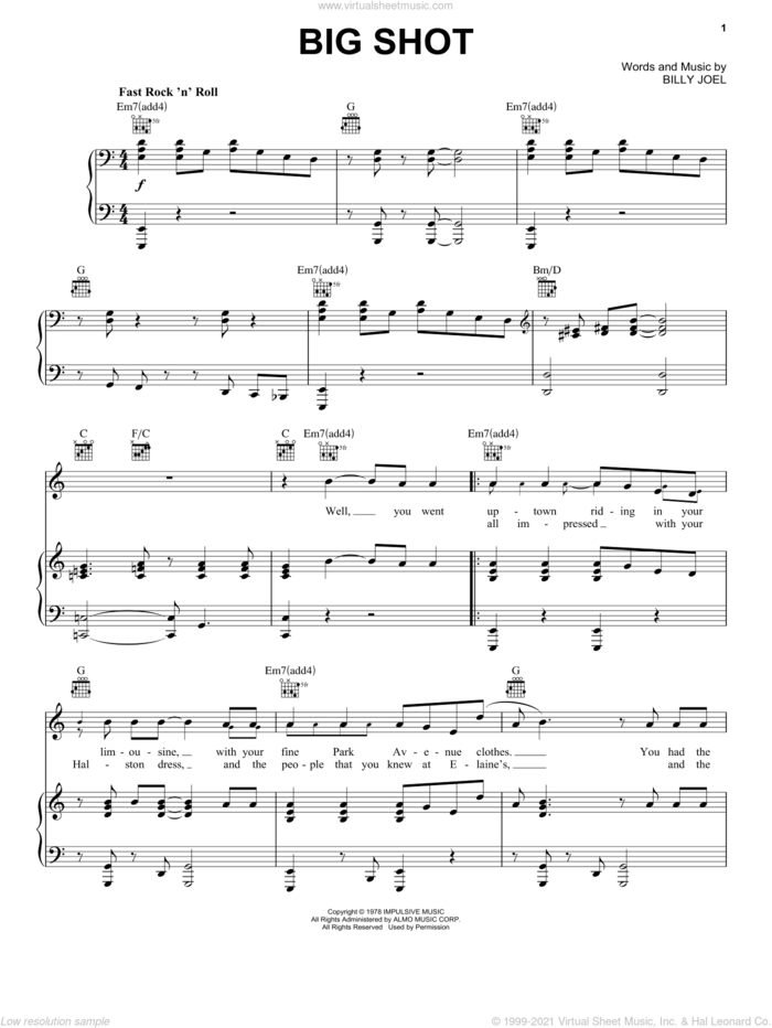 Big Shot sheet music for voice, piano or guitar by Billy Joel, intermediate skill level