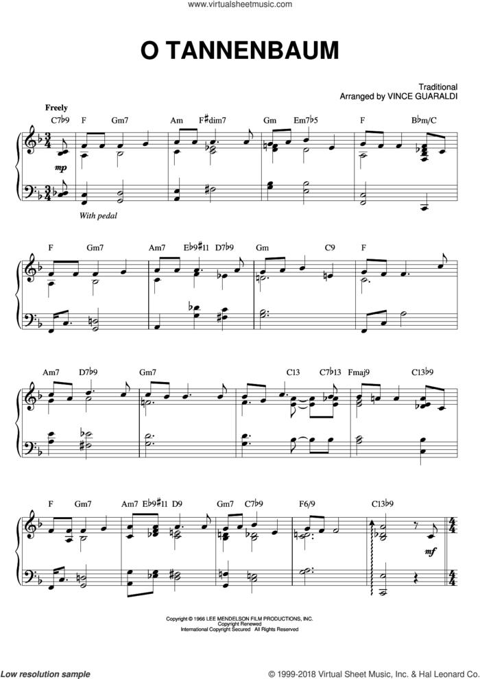 O Tannenbaum sheet music for piano solo by Vince Guaraldi, intermediate skill level