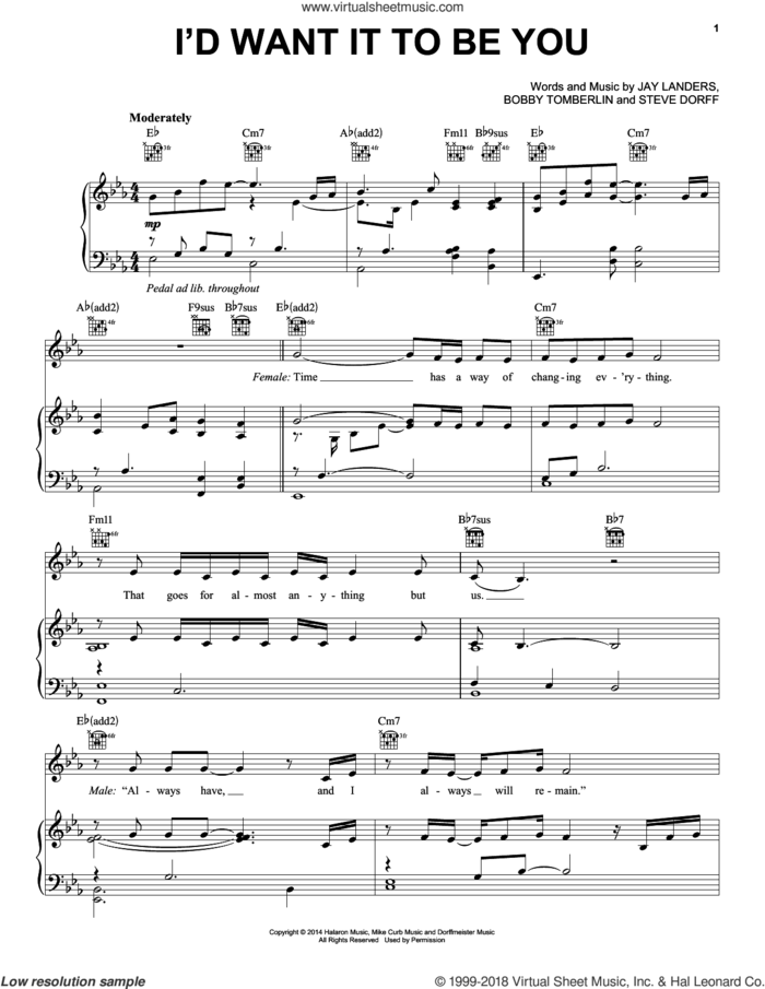 I'd Want It To Be You sheet music for voice, piano or guitar by Barbra Streisand and Blake Shelton, Barbara Streisand, Bobby Tomberlin, Jay Landers and Steve Dorff, intermediate skill level