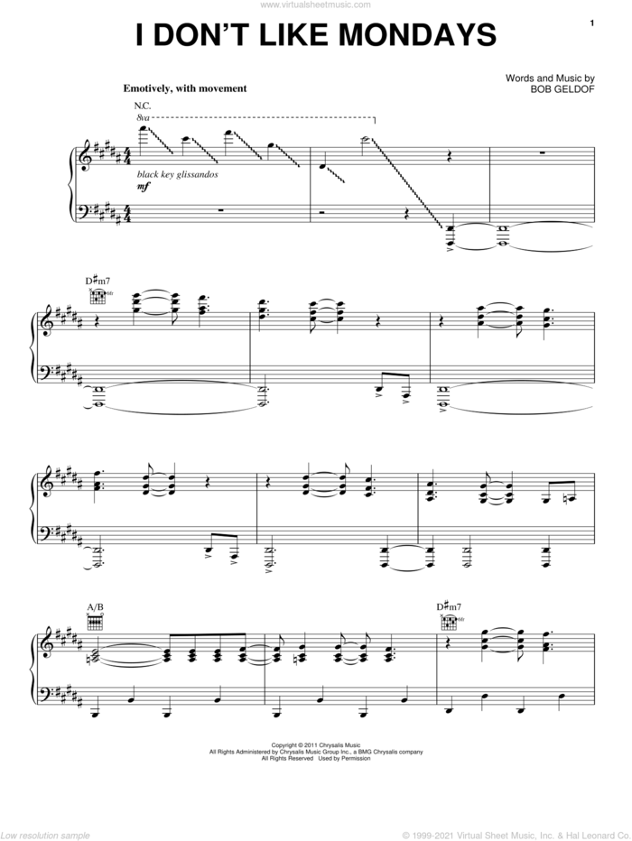 I Don't Like Mondays sheet music for voice, piano or guitar by The Boomtown Rats and Bob Geldof, intermediate skill level