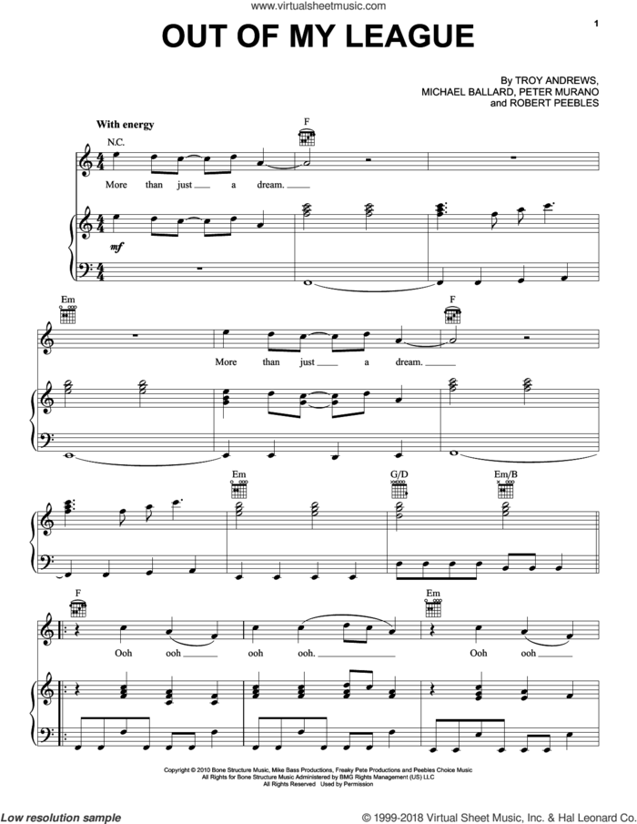 Out Of My League sheet music for voice, piano or guitar by Fitz And The Tantrums, James Midhi King, Jeremy Ruzumna, John Meredith Wicks, Joseph Karnes, Michael Fitzpatrick and Noelle Scaggs, intermediate skill level