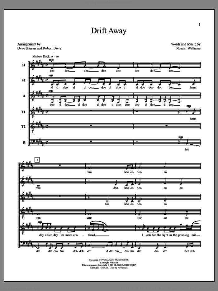 Drift Away sheet music for choir (SSATTB) by Deke Sharon, Anne Raugh, Dobie Gray and Mentor Williams, intermediate skill level