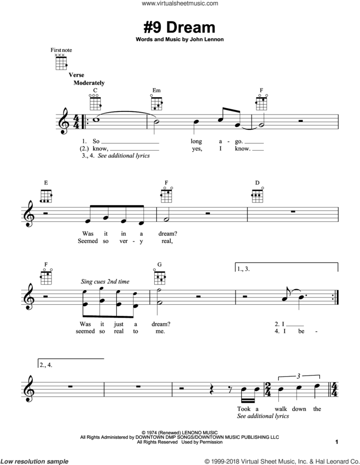 #9 Dream sheet music for ukulele by John Lennon, intermediate skill level