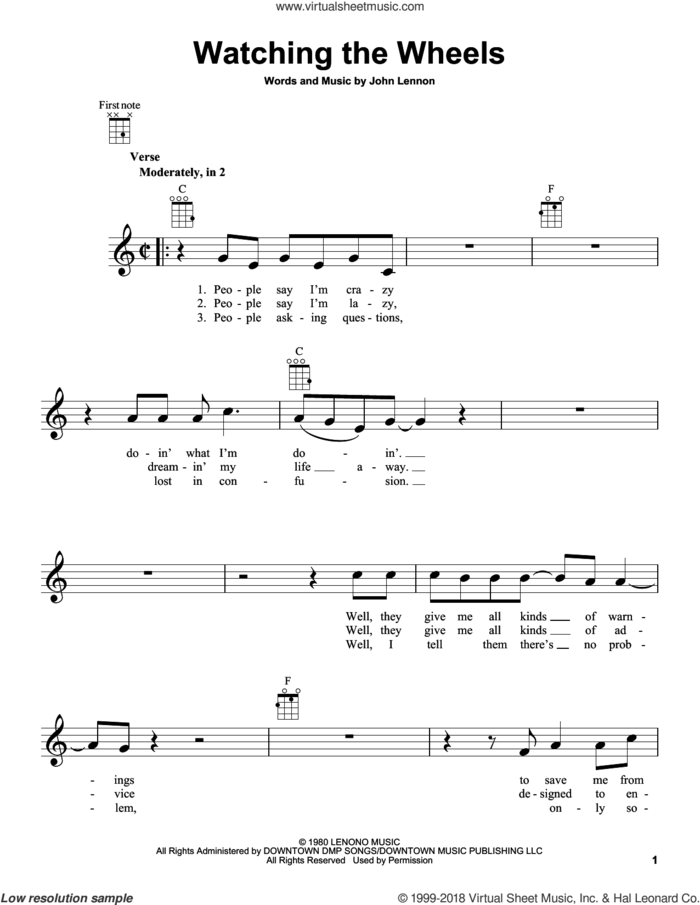 Watching The Wheels sheet music for ukulele by John Lennon, intermediate skill level