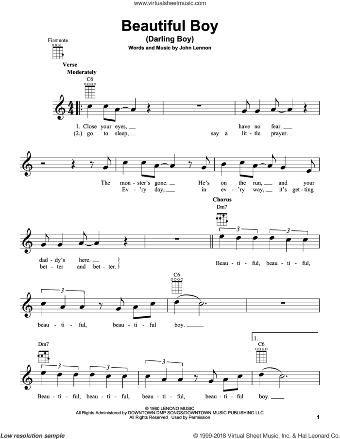 Beautiful Boy (Darling Boy) sheet music for ukulele by John Lennon, intermediate skill level