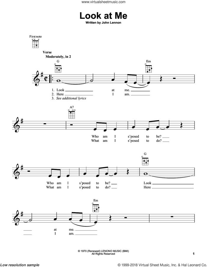 Look At Me sheet music for ukulele by John Lennon, intermediate skill level