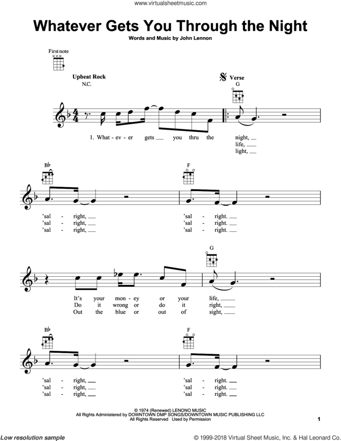 Whatever Gets You Through The Night sheet music for ukulele by John Lennon and with the Plastic Ono Nuclear Band, intermediate skill level