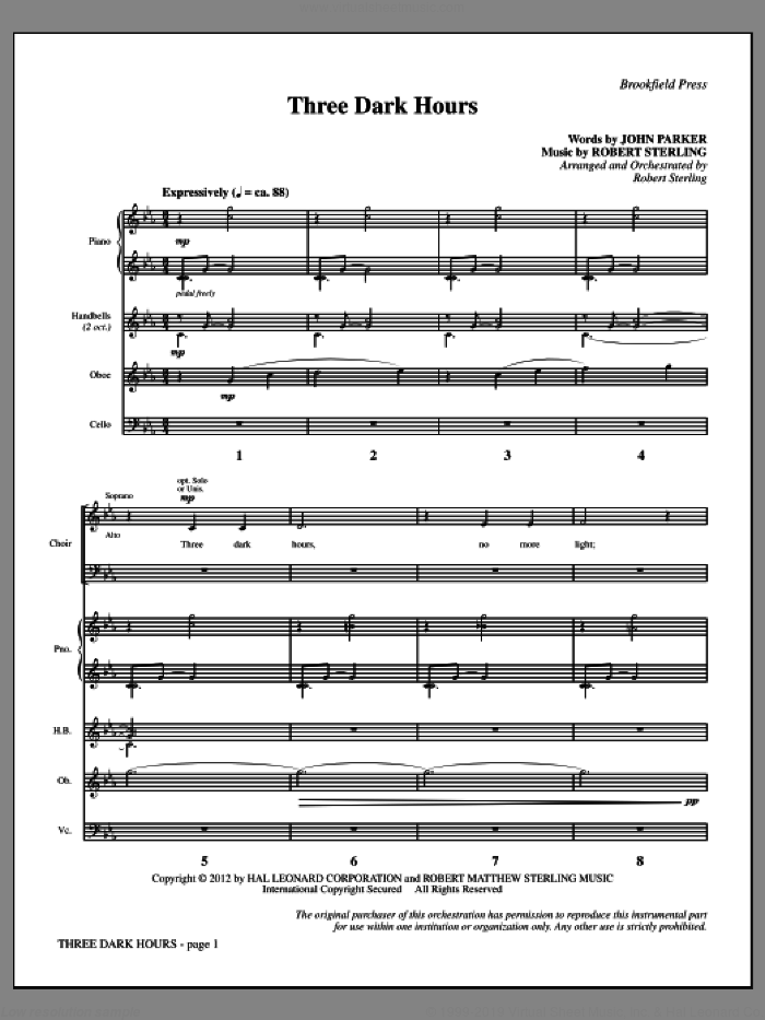 Three Dark Hours (COMPLETE) sheet music for orchestra/band by Robert Sterling and John Parker, intermediate skill level
