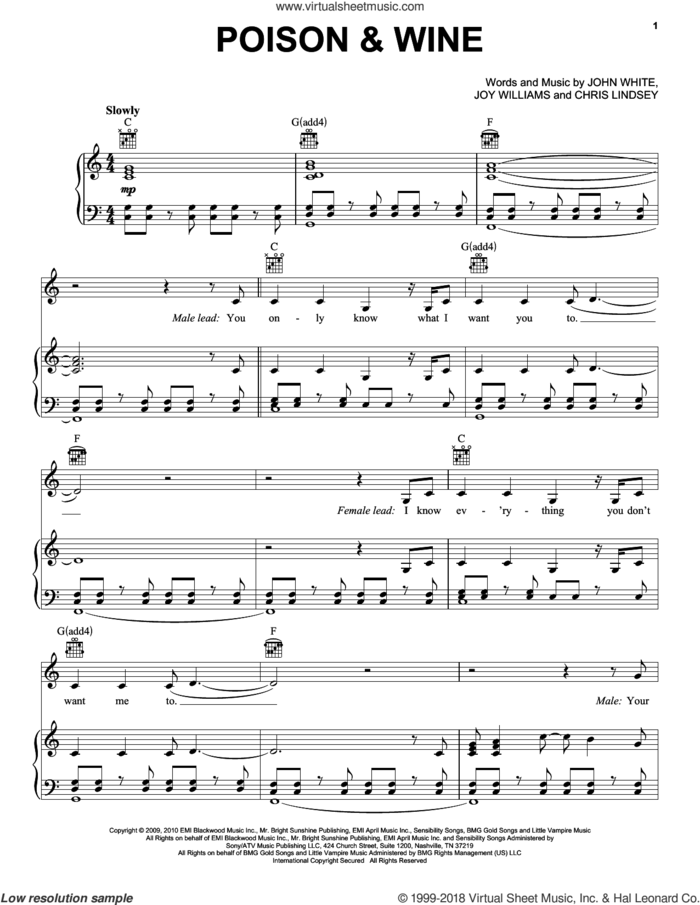 Poison and Wine sheet music for voice, piano or guitar by The Civil Wars, Chris Lindsey, John White and Joy Williams, intermediate skill level