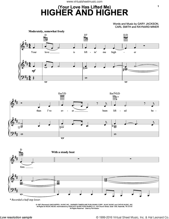 (Your Love Has Lifted Me) Higher And Higher sheet music for voice, piano or guitar by Jackie Wilson, Michael McDonald, Rita Coolidge, Carl Smith, Gary Jackson and Raynard Miner, intermediate skill level