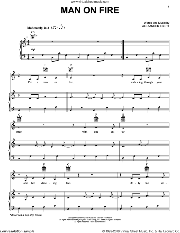 Man On Fire sheet music for voice, piano or guitar by Edward Sharpe and the Magnetic Zeros and Alexander Ebert, intermediate skill level