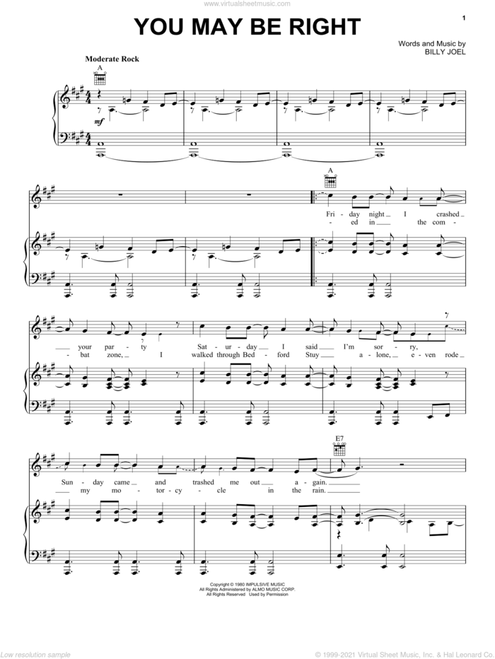 You May Be Right sheet music for voice, piano or guitar by Billy Joel, intermediate skill level