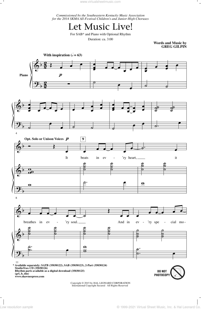 Let Music Live sheet music for choir (SAB: soprano, alto, bass) by Greg Gilpin, intermediate skill level