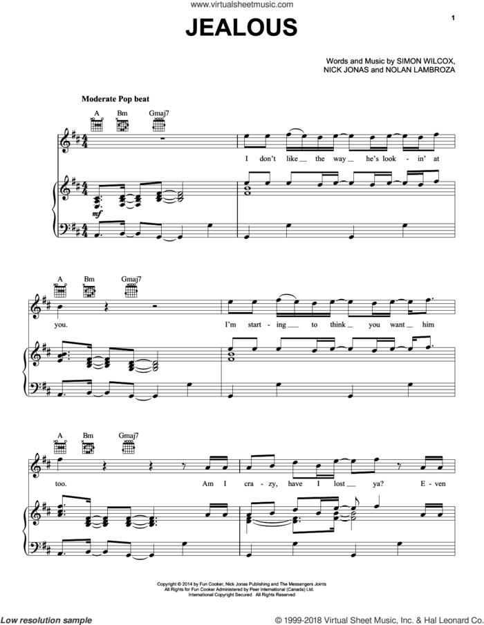 Jealous sheet music for voice, piano or guitar by Nick Jonas, Nolan Lambroza and Simon Wilcox, intermediate skill level