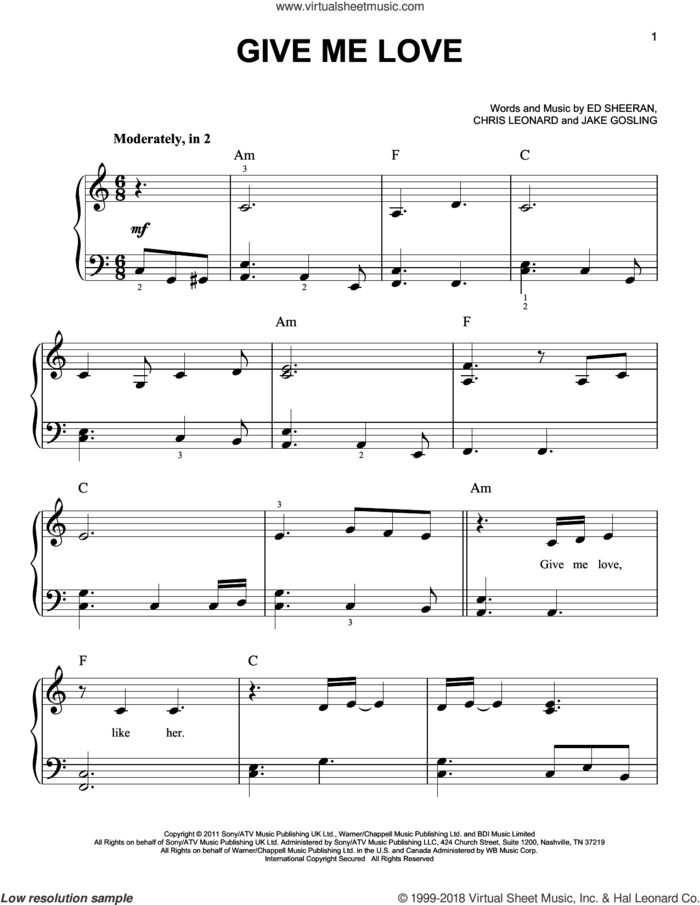 Give Me Love sheet music for piano solo by Ed Sheeran, Chris Leonard and Jake Gosling, easy skill level