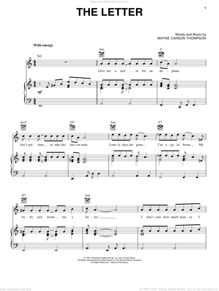 The Letter sheet music for voice, piano or guitar by Wayne Carson Thompson and Box Tops, intermediate skill level